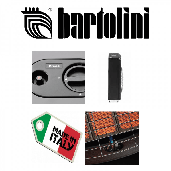 BARTOLINI STUFA A GAS METANO BLACK